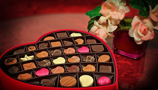heart-shaped box of chocolates
